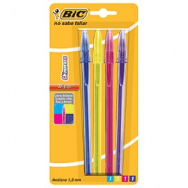 BOLIGRAFO BIC SHIMMERS COLORES SURTIDOS PAQ/4