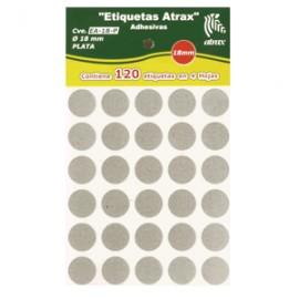 ETIQUETAS CIRCULARES ATRAX PLATA CON 120 PIEZAS