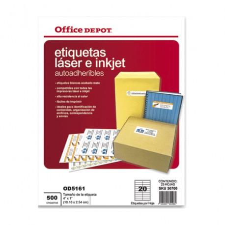 ETIQUETAS LASER INKJET 4X1 OFFICE DEPOT CON 500 PZ - Envío Gratuito