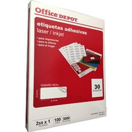 ETIQUETA LASER INKJET 2 5/8X1 OFFICE DEPOT C/3000