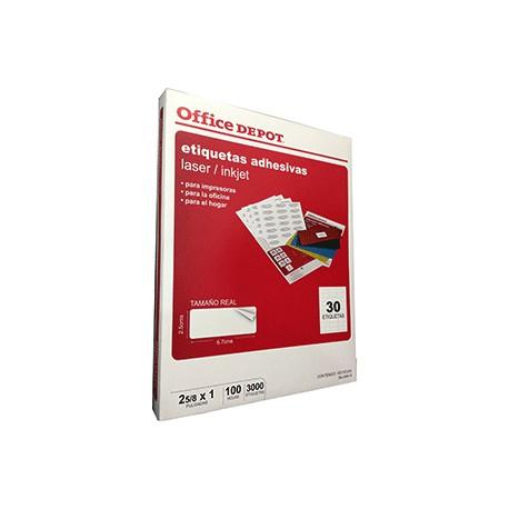 ETIQUETA LASER INKJET 2 5/8X1 OFFICE DEPOT C/3000 - Envío Gratuito