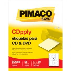 ETIQUETAS LASER INKJET CD/DVD PIMACO CON 25 PIEZAS
