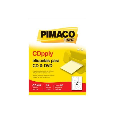 ETIQUETAS LASER INKJET CD/DVD PIMACO CON 25 PIEZAS - Envío Gratuito