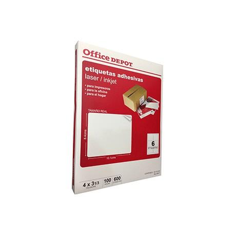 ETIQUETA LASER INKJET 4X3 1/3 OFFICE DEPOT C/600 - Envío Gratuito