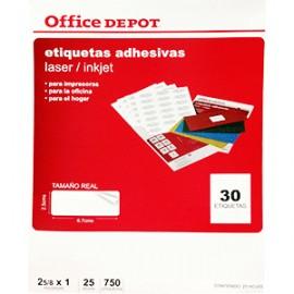 ETIQUETA LASER INKJET 2 5/8X1 OFFICE DEPOT CON 750