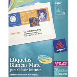 ETIQUETAS LASER AVERY COLOR MATE CON 50 - Envío Gratuito