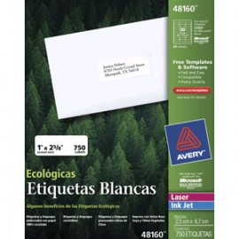 ETIQUETAS LASER AVERY ECOLOGICAS CON 750 PIEZAS