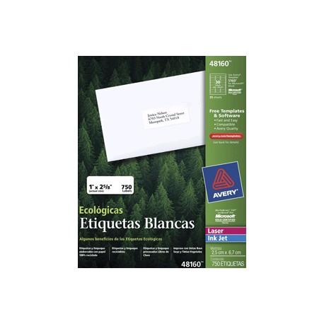 ETIQUETAS LASER AVERY ECOLOGICAS CON 750 PIEZAS - Envío Gratuito
