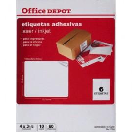 ETIQUETAS LASER INKJER OFFICE DEPOT 4X3 1/3