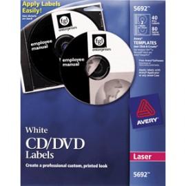 ETIQUETAS LASER CD/DVD AVERY BLANCAS CON 40 PIEZAS