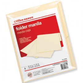 FOLDER CARTA OFFICE DEPOT MANILA CON 5 PIEZAS