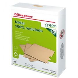 FOLDER CARTA OFFICE DEPOT RECICLADO CON 100 PIEZAS
