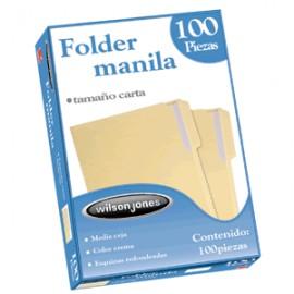 FOLDER CARTA WILSON JONES MANILA CON 100 PIEZAS