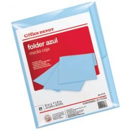 FOLDER CARTA OFFICE DEPOT AZUL CON 25 PIEZAS