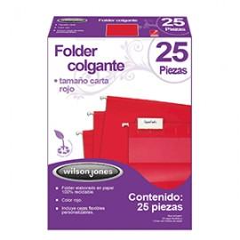 FOLDER COLGANTE WILSON JONES CARTA ROJO CON 25 PZ