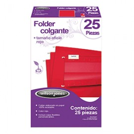 FOLDER COLGANTE WILSON JONES OFICIO ROJO 25PZS
