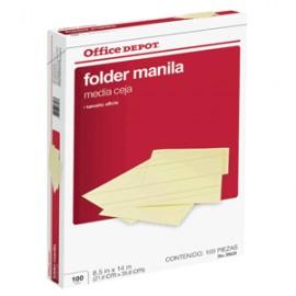 FOLDER OFICIO OFFICE DEPOT MANILA CON 100 PIEZAS - Envío Gratuito