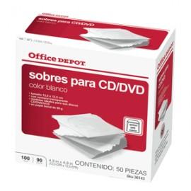 SOBRES PARA CD/DVD OFFICE DEPOT BLANCOS 100 PIEZAS - Envío Gratuito