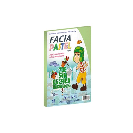 PAPEL PASTEL COLOR VERDE CON 100 HOJAS FACIA - Envío Gratuito