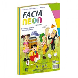 CARTULINA NEON MIX. 5 COLORES CON 100 CARTA FACIA
