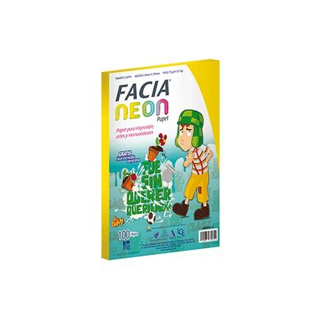 PAPEL NEON AMARILLO PAQ.CON 100 HOJAS FACIA - Envío Gratuito