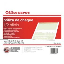 POLIZA CHEQUES OFFICE DEPOT 1/2 OFICIO CON 12 - Envío Gratuito