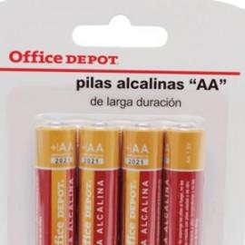 PILA ALCALINA AA OFFICE DEPOT PAQUETE CON 4 - Envío Gratuito