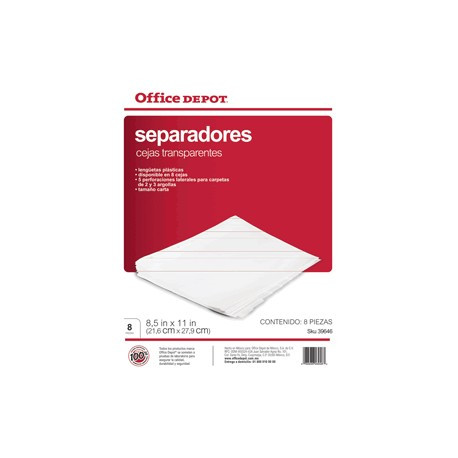 SEPARADORES INDICE OFFICE DEPOT 8 DIVISIONES - Envío Gratuito