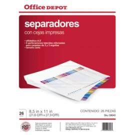 SEPARADORES INDICE OFFICE DEPOT A-Z
