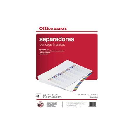 SEPARADORES INDICE OFFICE DEPOT 1-31 - Envío Gratuito