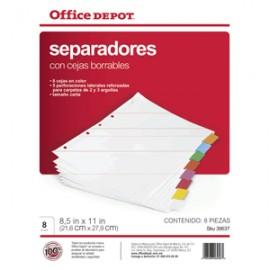 SEPARADORES INDICE OFFICE DEPOT BORRABLES 8 DIV