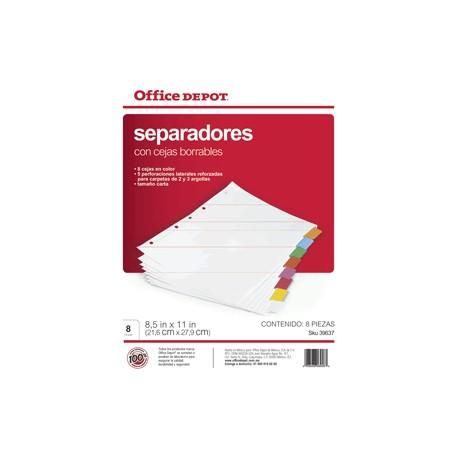 SEPARADORES INDICE OFFICE DEPOT BORRABLES 8 DIV - Envío Gratuito