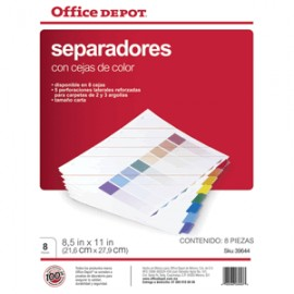 SEPARADORES INDICES OFFICE DEPOT 8 DIV. COLOR