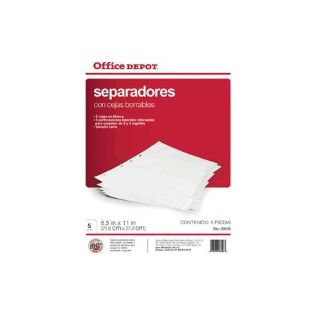 SEPARADORES INDICE OFFICE DEPOT 5 DIVISIONES - Envío Gratuito