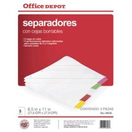 SEPARADORES INDICE OFFICE DEPOT 5 DIVISIONES