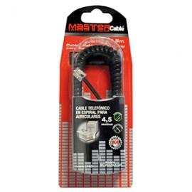 CABLE TELEFONICO ESPIRAL MASTER 4.5 METROS NEGRO - Envío Gratuito