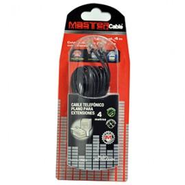CABLE TELEFONICO MASTER PLANO 4.0 METROS NEGRO - Envío Gratuito
