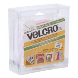 VELCRO STICKY BACK BLANCO ROLLO 19MM X 4M