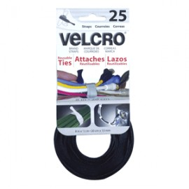 VELCRO TIES TIRAS CORREAS 20CM X 13MM PAQ/25