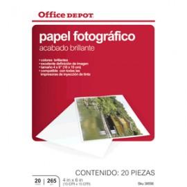 PAPEL FOTOGRAFICO 4 X 6 20 HOJAS OFFICE DEPOT - Envío Gratuito