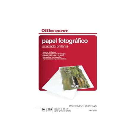 PAPEL FOTOGRAFICO 8.5 X 11 20 HOJAS OFFICE DEPOT - Envío Gratuito
