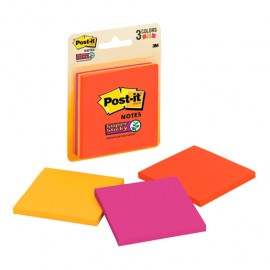 POST-IT SUPER STICKY 654 3 X 3 NEON 45H PAQ/3