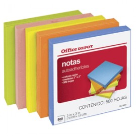 NOTAS AUTOADHERIBLES NEON 3X3 OFFICE DEPOT