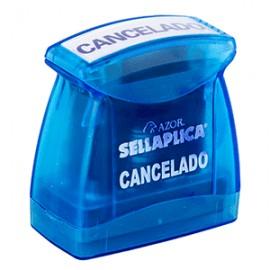 SELLO PREENTINTADO CANCELADO TINTA AZUL - Envío Gratuito