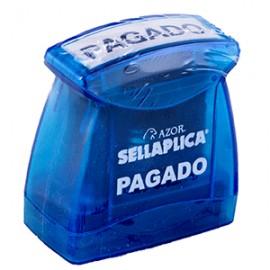 SELLO PREENTINTADO PAGADO TINTA AZUL