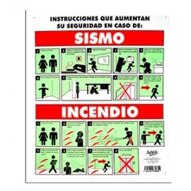 LETRERO QUE HACER EN CASO DE SISMO/INCENDIO SABLON - Envío Gratuito