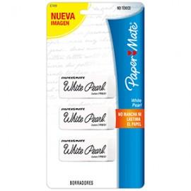 GOMA WHITE PEARL DE PAPERMATE CON 3 PIEZAS - Envío Gratuito